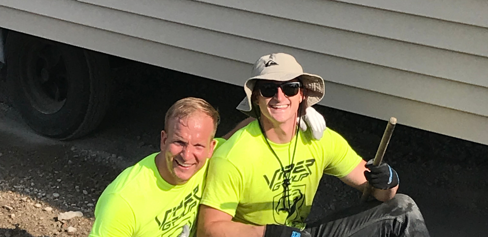 Andrew Keel and John S. installing mobile homes in IL