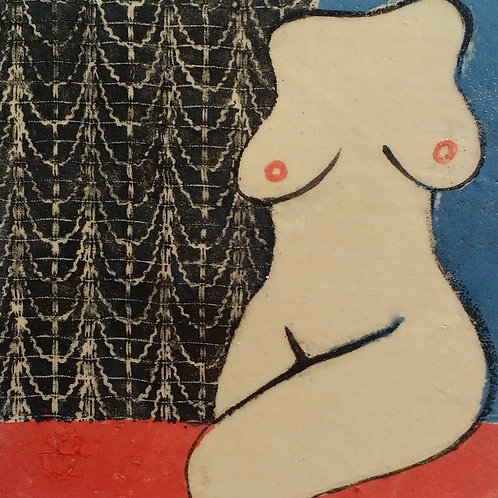 Framed Ceramic tile - Seated Nude