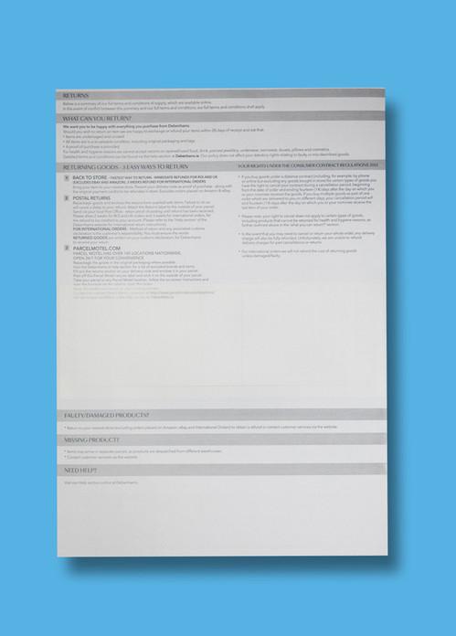 Debenhams E-Commerce Despatch Note (Traditonal Integrated Label)