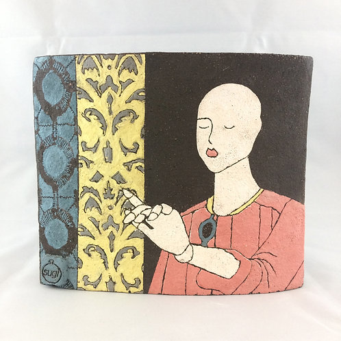 Mannequin conversation vase - black clay series