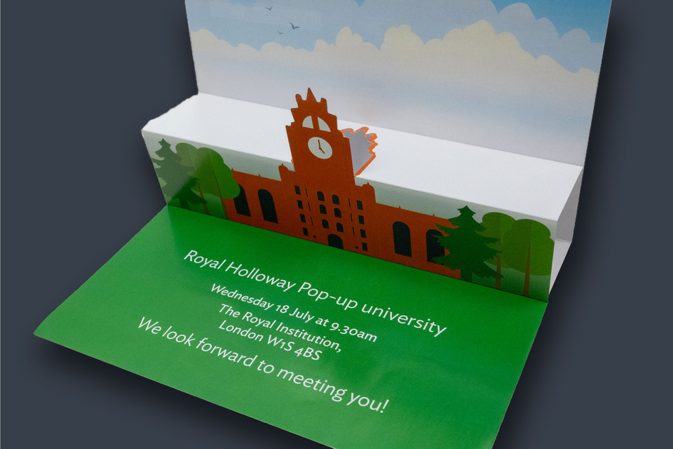 "Royal Holloway ""Pop up University"" mailer"