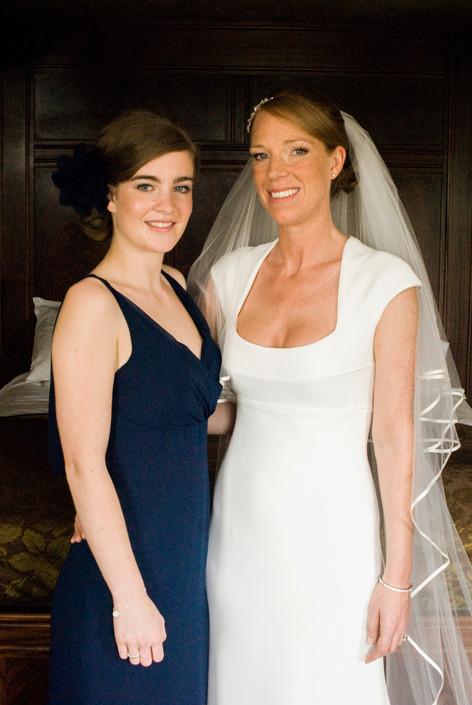 Bride & bridesmaid at Hampton Court Mitre Hotel