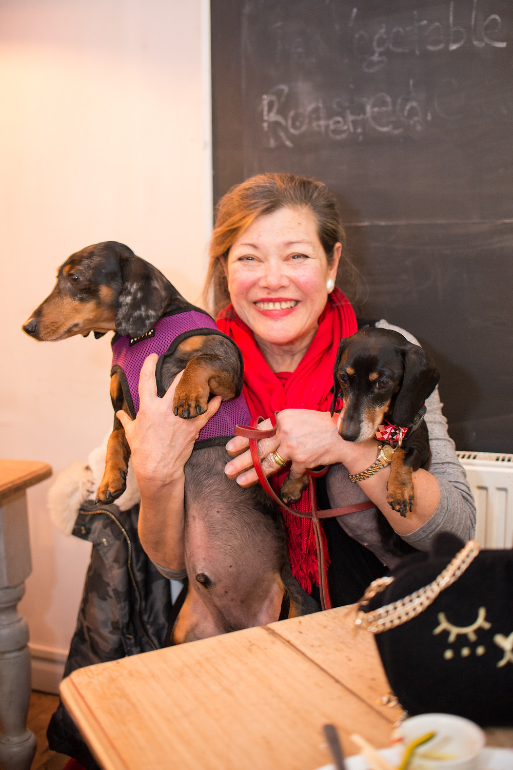 Lady in red scarf with two Daschunds at Rempah's party at Cafe Gratitude.