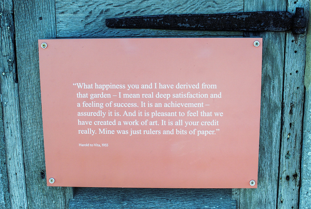Photo of quote card at Sissinghurst Castle