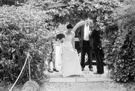 Bride arriving by Black cab at Priston Mill, Bristol