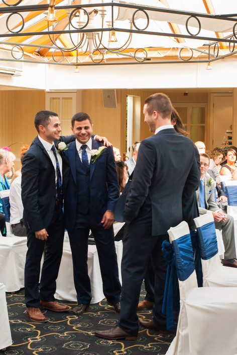 Groom and Groomsmen waiting for bride's arrival at Hampton Court Mitre Hotel