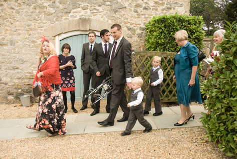Wedding guests arriving at Priston Mill, Bristol