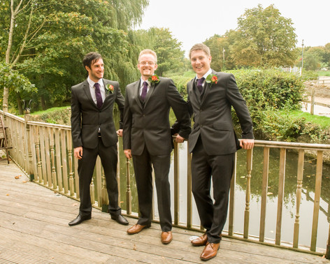 Groom with groomsmen at Priston Mill, Bristol