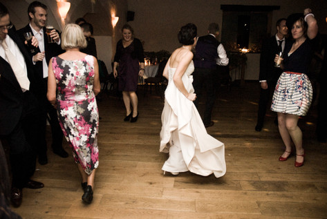 Bride dancing at Priston Mill, Bristol