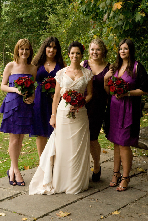 Bride with bridesmaids at Priston Mill, Bristol
