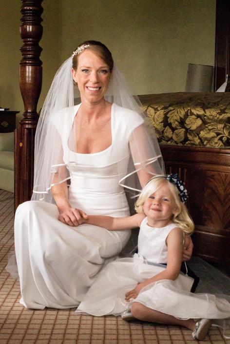Bride & Flowergirl at Hampton Court Mitre Hotel