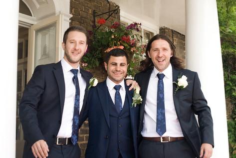 Groom & best man & usher outside Hampton Court Mitre Hotel