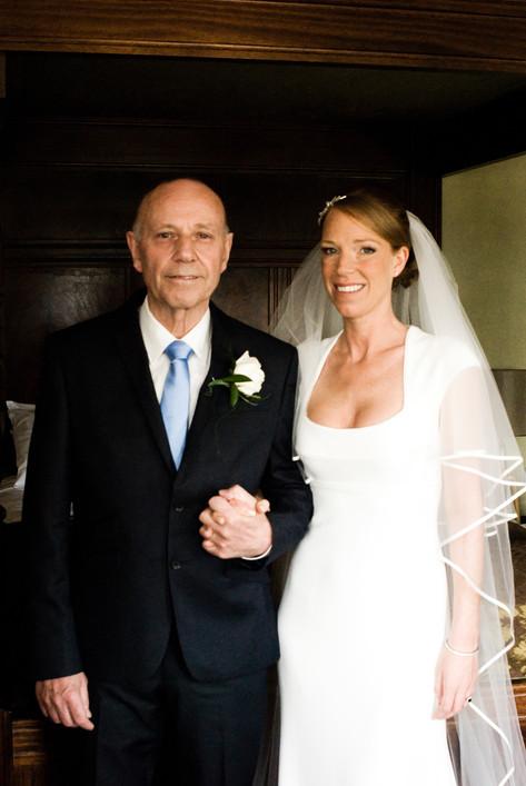 Bride & father of the bride at Hampton Court Mitre Hotel