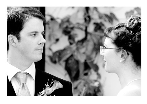 Candid portrait of the Bride and Groom at Sheffield Botanical Gardens