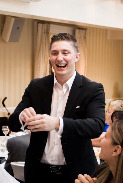 Magician at wedding reception at Hampton Court Mitre Hotel