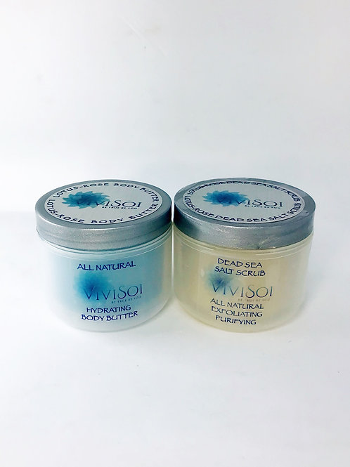 Lotus-Rose Body Butter & Salt Scrub Gift