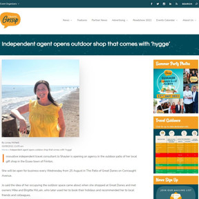 Press Coverage: Independent agent opens outdoor shop that comes with 'hygge', Travel Gossip