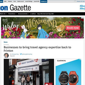 Press Coverage: Businesses to bring travel agency expertise back to Frinton, Clacton Gazette