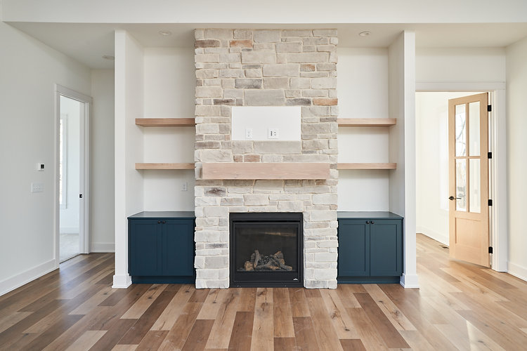 Ridgewood Homes Custom Home LIving Room Fireplace Closeup