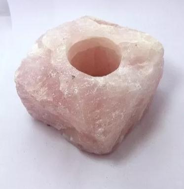 Porta Vela De Quartzo Rosa