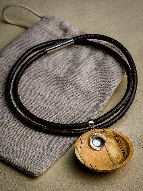 Spalted Beech Hemisphere Necklace