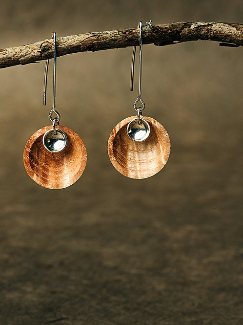 Hand Turned Rippled Ash, Bowl Earrings, Silver