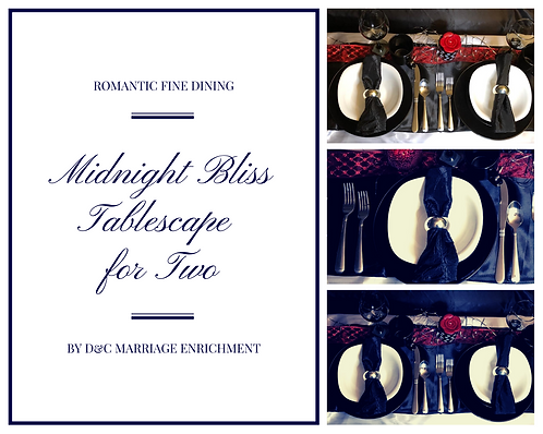 Midnight Bliss - Tablescapes For Two by D&C (Free Shipping)