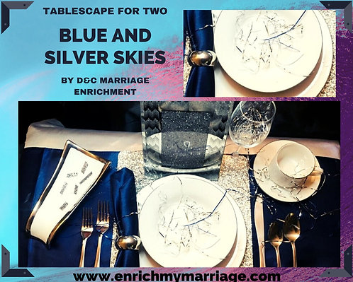Blue and Silver Skies - Tablescape for Two
