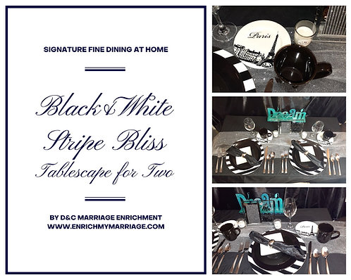 Black and White Striped Bliss - Tablescapes for Two