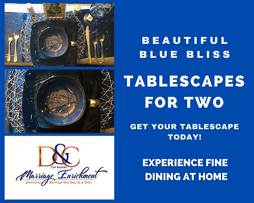 Beautiful Blue Bliss - Tablescape for Two