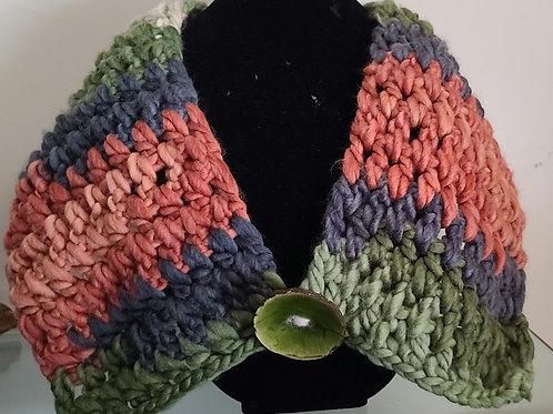 Crochet Scarf Green Button