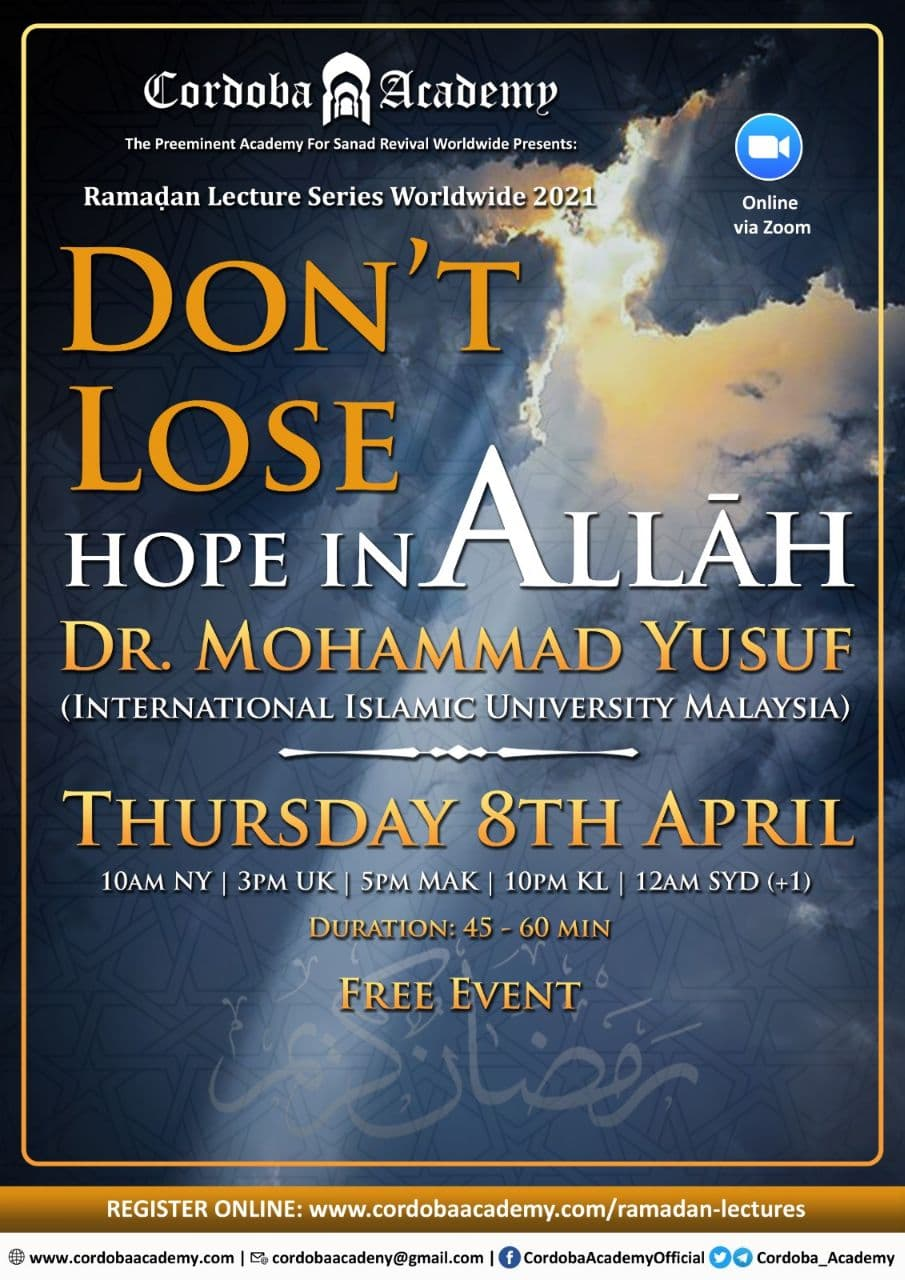 Don't lose Hope in Allah - Dr. Mohammad Yusuf