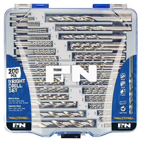 200pc Bright Drill Set Metric & Imperial