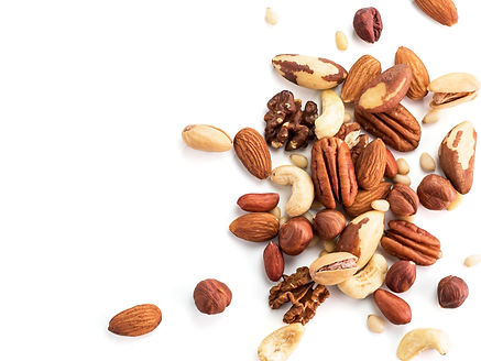 Background of nuts - pecan, macadamia, b