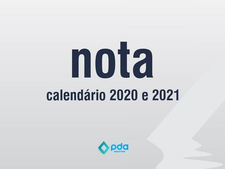 Nota - Calendário 2020 e 2021