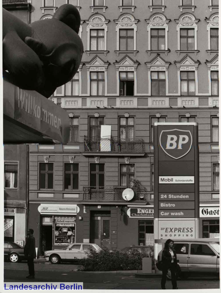 Moabit, Berlin in 1999 with local shops and stores.