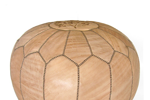 MOROCCAN LEATHER POUF TAN