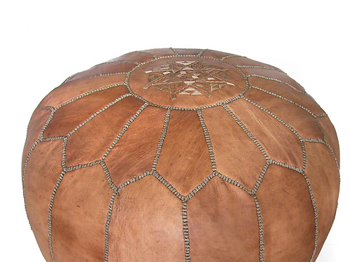 MOROCCAN LEATHER POUF DARK TAN