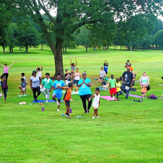 Kids Yoga in the park series. Over 25 people in our first session!
