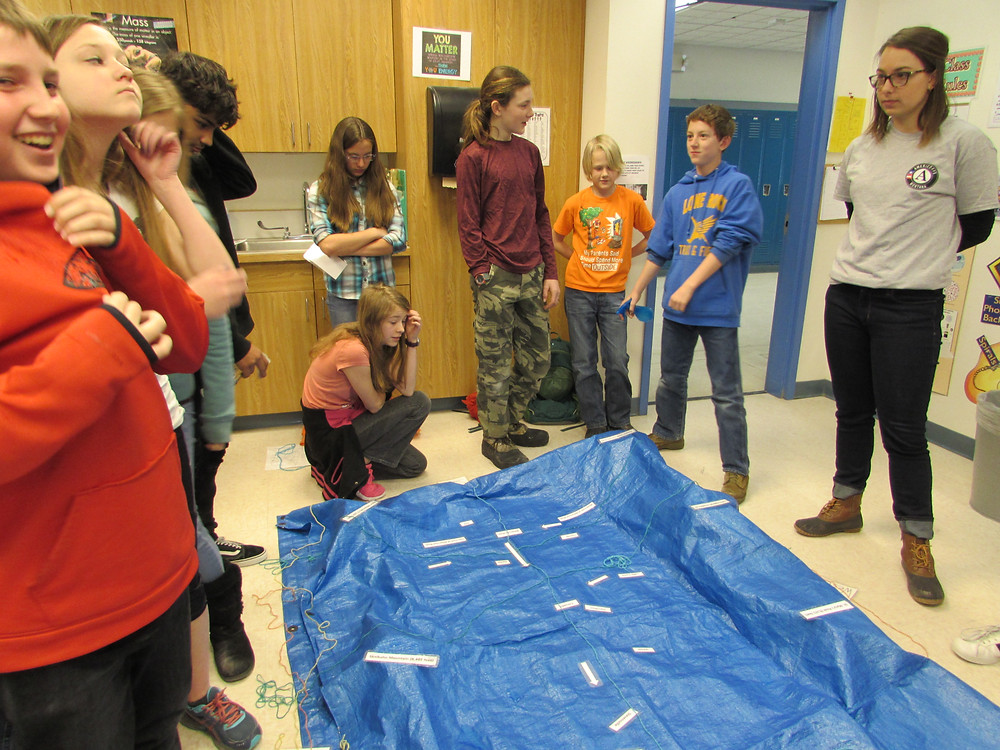 Aissa and Lone Rock students building the Bitterroot Watershed.