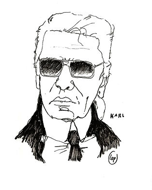 karl lagerfeld black and white illustration