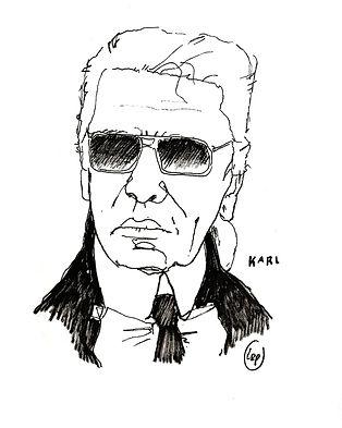karl lagerfeld black and white illustration