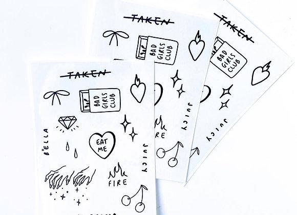 """Single af"" A6 Temporary Tattoos sheet"