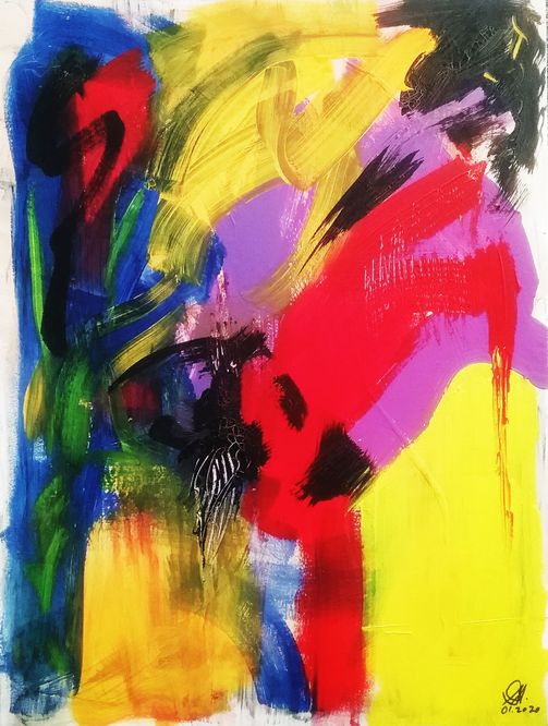 Dancing in Africa abstract painting