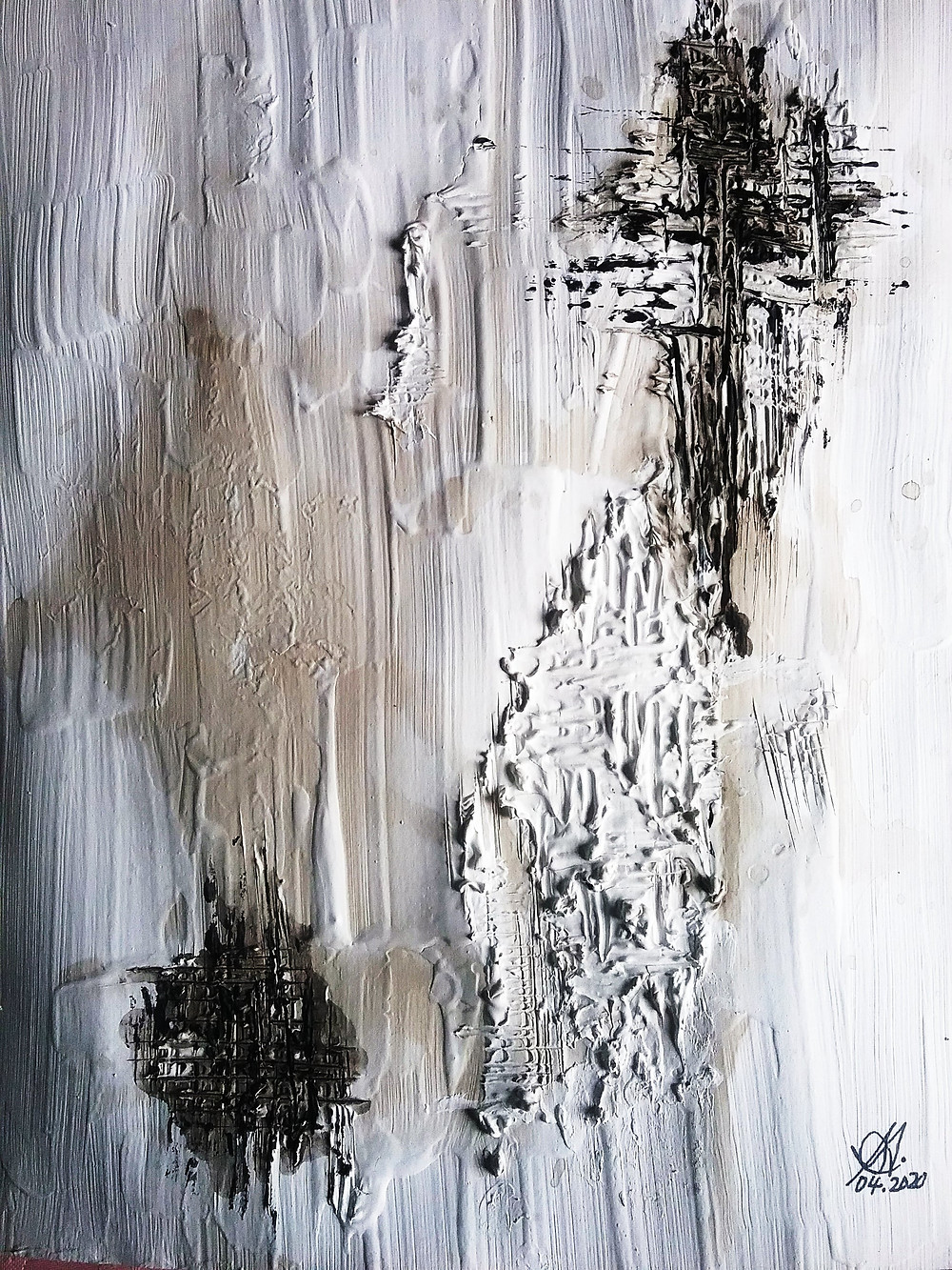 The effect of adding texture to abstract painting