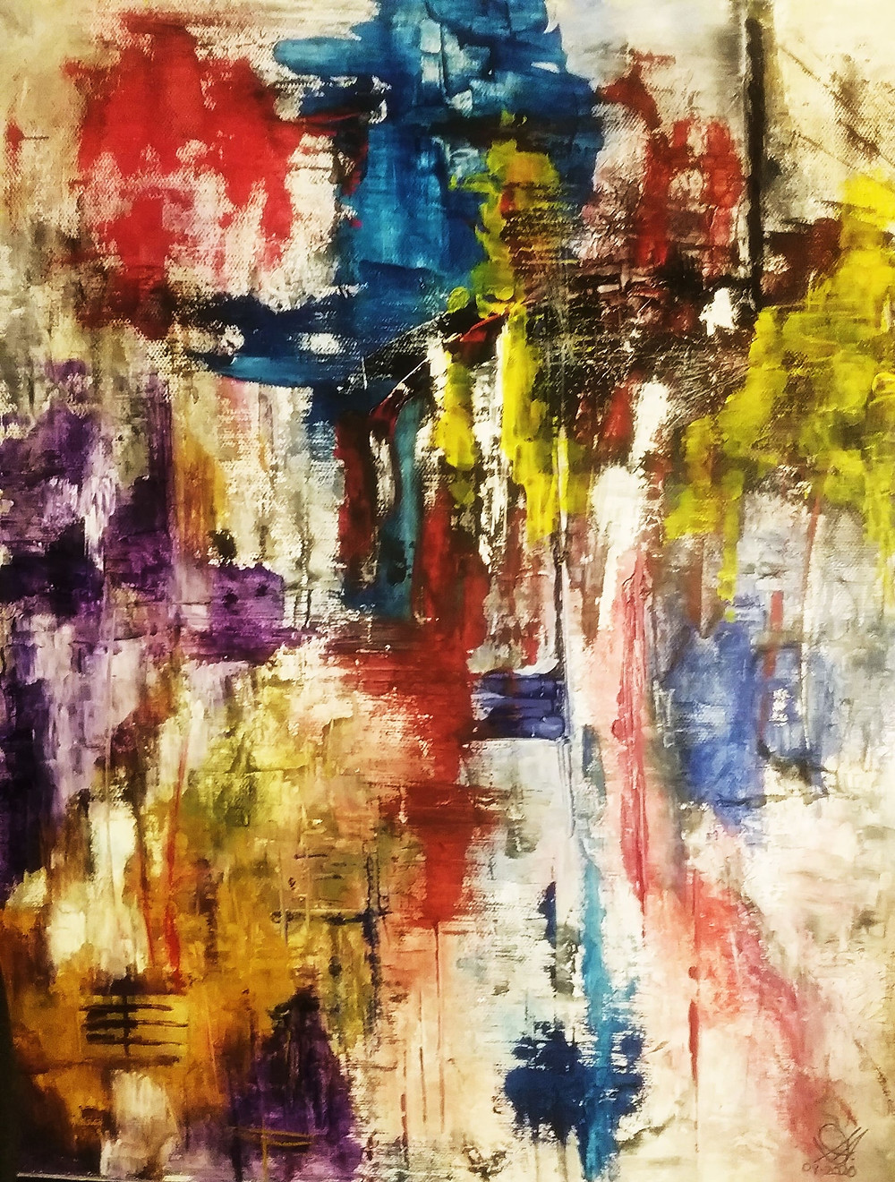 Several layers of oil paint to create abstract painting