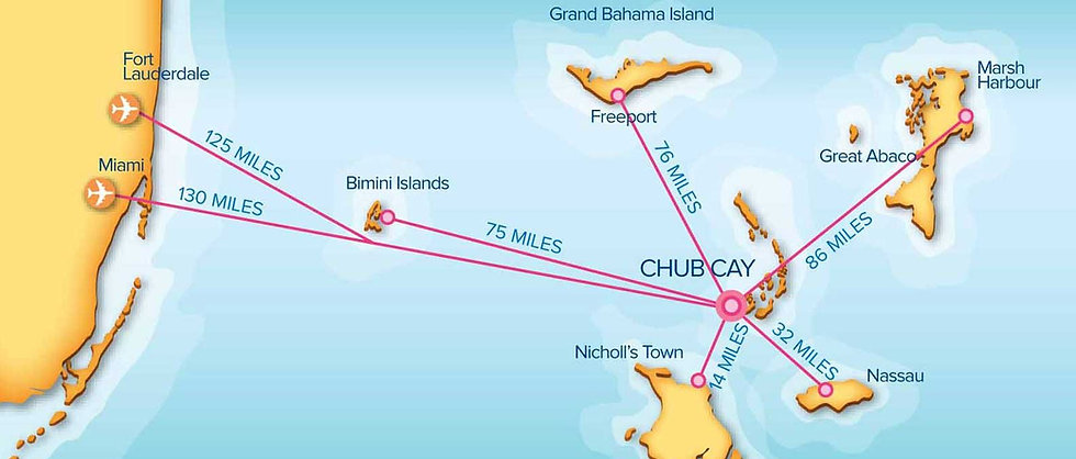 General aviation map of traveling to and from Chub Cay from Florida and the Bahamas