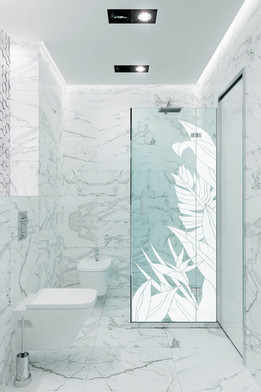 Custom Vetrilite Etched Glass Film Design applied over shower enclosure
