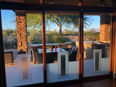 Vetrilite custom etched glass film applied on restaurant window glass