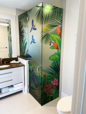 Custom Vetrilite Etched Glass Film Design applied over shower enclosure.